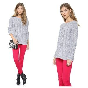 Madewell cable knit boatneck grey sweater M